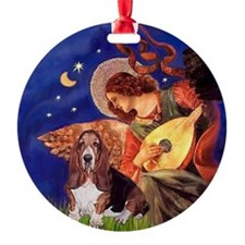 Mandolin Angel & Basset Ornament (Round)