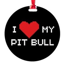 I Heart My Pit Bull Ornament (Round)