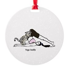 Yoga buddy cat Ornament (Round)