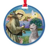 St Francis (w) - Irish Wolfhound Ornament (Round)
