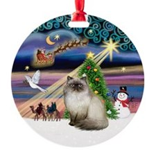 Xmas Magic & Himilayan Cat Ornament (Round)