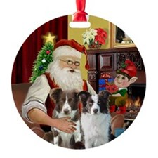 Santa's 2 Border Collie Ornament (Round)