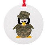 Army Penguin Ornament (Round)