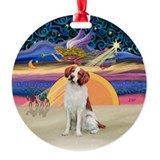 Xmas Star - Brittany Spaniel Ornament (Round)