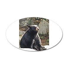 Black Bear Sitting 20x12 Oval Wall Decal