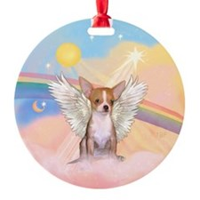 Clouds/Chihuahua-fawn Angel Ornament (Round)