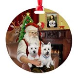 Santa's 2 West Highland Terriers Ornament (Round)