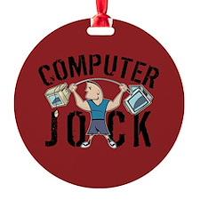 Geek Computer Jock Ornament (Round)