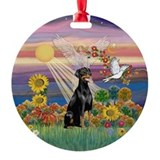 Autumn Angel & Doberman (1N) Ornament (Round)