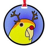 Reindeer White Bellied Caique Holiday Ornament