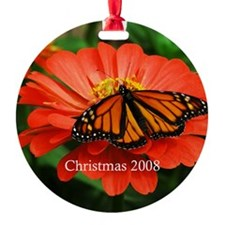 Orange Monarch Butterfly Christmas Ornament