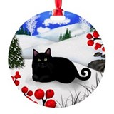 BLACK CAT WINTER BERRIES Ornament (Round)