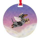 Silver Dapple Dachshund Angel Ornament (Round)