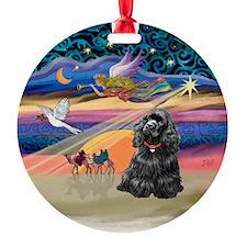 XmasStar - Black Cocker Spaniel Ornament (Round)