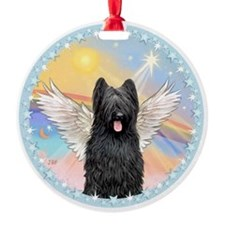 Clouds/Black Briard Angel Ornament (Round)