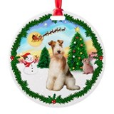 TakeOff1W/ Wire Fox Terrier #3 Ornament (Round)
