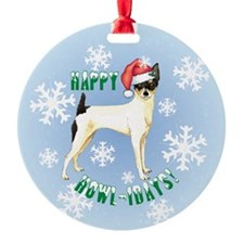 Holiday Toy Fox Terrier Ornament (Round)