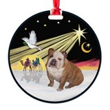 Xmas Dove - English Bulldog 2 Ornament (Round)