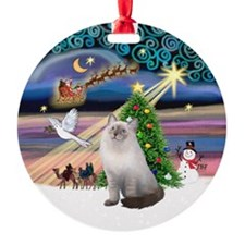 Xmas Magic & blue Ragdoll cat Ornament (Round)