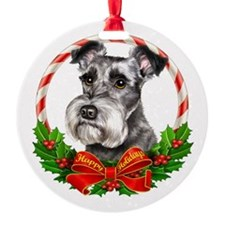 Schnauzer Wreath Ornament (Round)