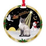 Gold Wreath & Siamese cat (blue) Ornament (Round)