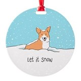 Corgi Let It Snow Ornament