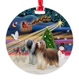 Xmas Magic - 2 Bearded Collies Ornament (Round)