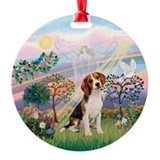 Cloud Angel 2 & Beagle Ornament (Round)