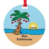 Palm Tree Dated Hawaiian Christmas Ornament