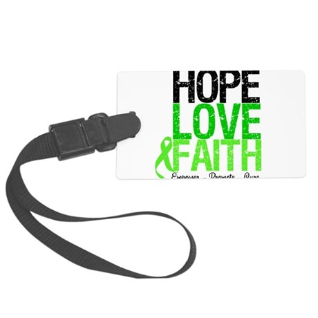 hopelovefaithlimegreen.png Large Luggage Tag