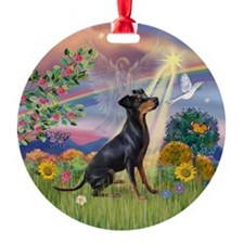 Cloud Angel Manchester Terrier Keepsake (Round)
