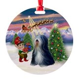 Christmas Tree & Tibetan Terrier Ornament (Round)