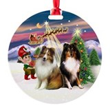 Santa's Take Off - 2 Shelties Ornament (Round)