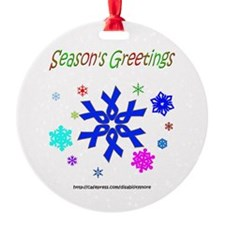 Blue Ribbon Snowflake Ornament (Round)