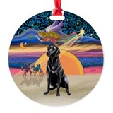 Xmas Star - Black Lab #4 Ornament (Round)
