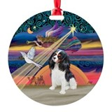 Xmas Star & Tri Color Cavalier Ornament (Round)