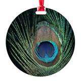 Dark Peacock Feather Ornament (Round)