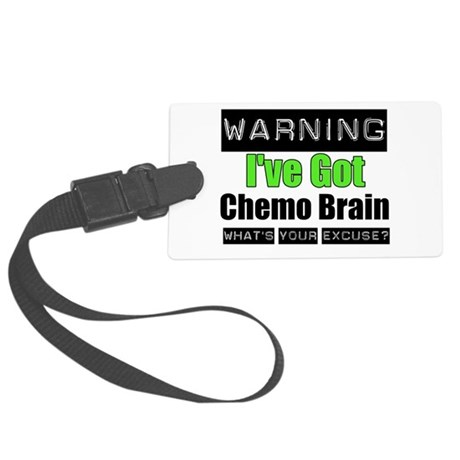 ivegotchemobrainlimegreen.png Large Luggage Tag