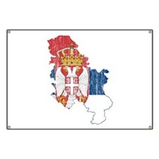 Serbia Flag And Map Banner