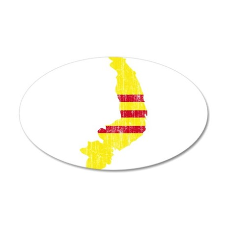 South Vietnam Flag And Map 20x12 Oval Wall Decal