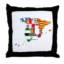 Spain Subdivisions Flag And Map Throw Pillow