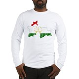 Tajikistan Flag And Map Long Sleeve T-Shirt