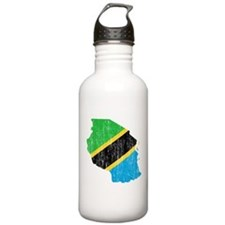 Tanzania Flag And Map Water Bottle