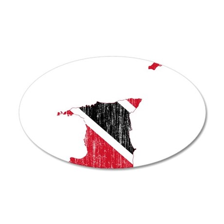 Trinidad And Tobago Flag And Map 20x12 Oval Wall D