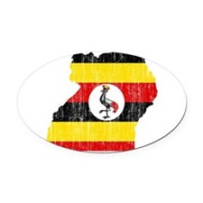 Uganda Flag And Map Oval Car Magnet