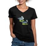 Blue Call Ducks Women's V-Neck Dark T-Shirt