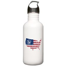 United States Yacht Ensign Flag And Map Water Bottle