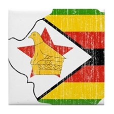 Zimbabwe Flag And Map Tile Coaster