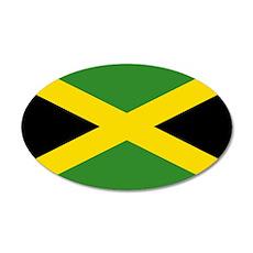 Jamaican Flag 20x12 Oval Wall Decal
