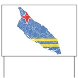 Aruba Flag And Map Yard Sign